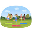 a group of people standing in the yoga position in vector image