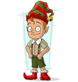 Cartoon redhead Christmas elf in vector image