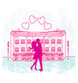 Romantic Valentine retro postcard with kissing vector image