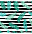 seamless background with palm leaves on black and vector image