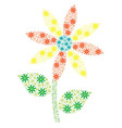 Aqua orange and yellow mosaic spiky daisy made out vector image