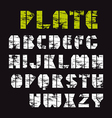Sans serif stencil plate font military style vector image