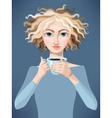 Blonde girl with coffee vector image