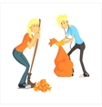 Guy And Girl Picking Leaves vector image