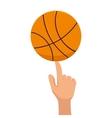 basketball ball sport finger vector image