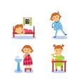 flat cartoon kid doing routine activity set vector image