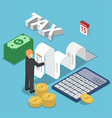 Isometric businessman calculate document for taxes vector image