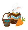 rabbit inside egg with hamper and carrot vector image