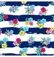 Exotic colorful flowers on a white-blue background vector image