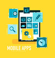 flat mobile apps on tablet concept vector image