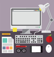 Desktop computer and desk objects vector image