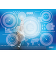 Hand pressing high tech type of modern buttons vector image