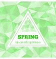 Lettering Spring is coming soon in triangle shape vector image