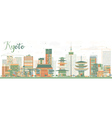 Abstract Kyoto Skyline with Color Landmarks vector image vector image