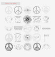 day of peace set style line icons on white vector image