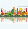 san francisco skyline with color buildings blue vector image