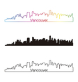 Vancouver skyline linear style with rainbow vector image