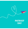 Paper plane with heart dash line Patriot Day vector image