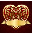ornamental heart with gold ribbon for valentine da vector image
