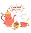 colorful red and yellow coffee theme smil vector image