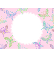 pink floral lace frame with butterflies vector image vector image