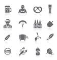 Beer icons set black vector image
