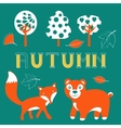 Cute autumn set with woodland creatures birds and vector image