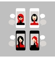 Female face on mobile phone vector image
