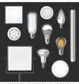 Led Lamps Realistic Transparent Set vector image