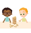 Little baby boy play in wood game African vector image