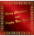 red christmas card with gold decorations vector image