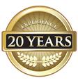 Twenty Years Experience Gold vector image