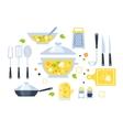 Soup Preparation Set Of Utensils vector image