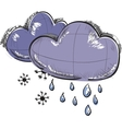 Two clouds with snowflakes and rain drops vector image