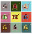flat icons set shop cart vector image