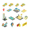 taxi and gadgets isometric set vector image vector image