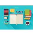 Reading books desktop set of flat icons vector image