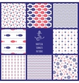 Set of eamless nautical patterns vector image