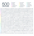500 thin line web icons vector image