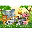 funny animal cartoon in the jungle vector image vector image