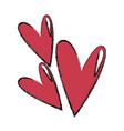 cartoon hearts romantic valentine decoration vector image