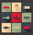 Food Set of bright icons in flat style vector image