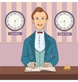 male receptionist standing at hotel reception vector image
