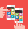 Smartphone with application store screen interface vector image