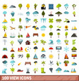 100 view icons set flat style vector image