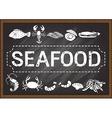 seafood on chalkboard vector image