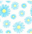 blue daisy chamomile flowers seamless pattern vector image