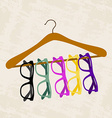 hipster glasses on a hanger for clothes vector image