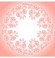 round pink floral frame vector image