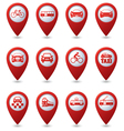 Set of 12 pointers with transport icons vector image
